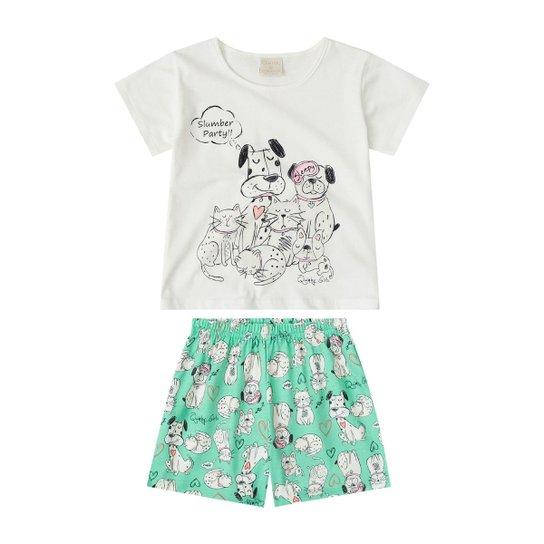 Pijama Infantil Quimby Feminino - Off White - Compre Agora  db9c2d9fd08