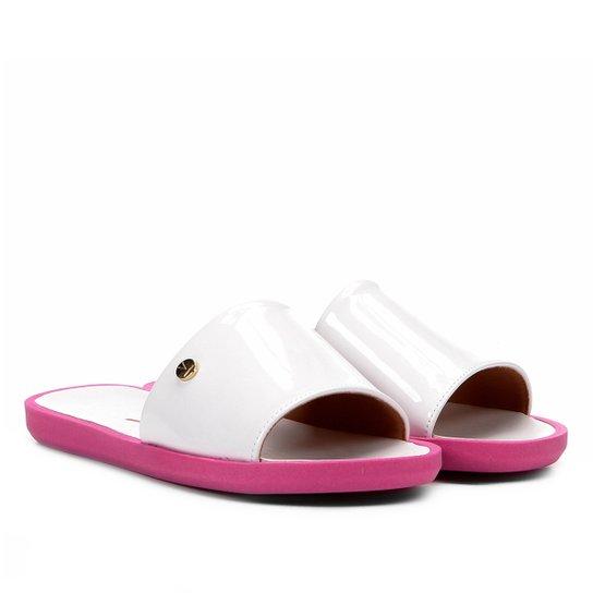 3b63db0ef Chinelo Vizzano Slide Liso Verniz Feminino - Branco e Pink - Compre ...