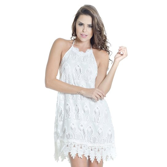 95cb44a5e0 VESTIDO OFF WHITE RENDA GUIPIR COLCCI - Off White