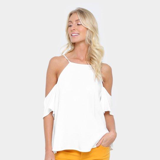 7d57be713 Blusa Colcci Recorte Ombro Babados Feminina - Off White