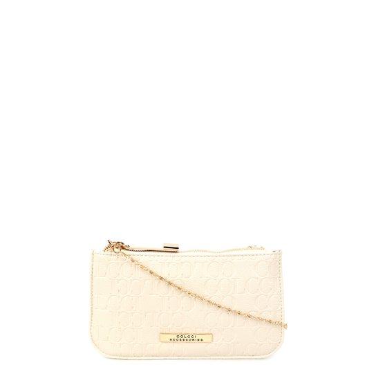 d3b289917e Bolsa Colcci Mini Bag Tiracolo Alça Corrente Placa Feminina - Off White