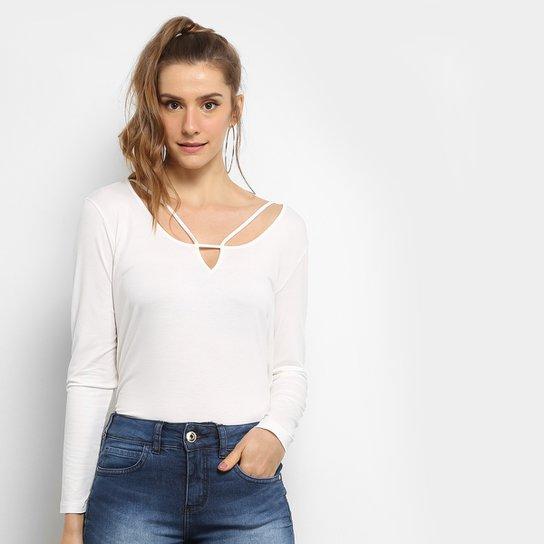 bab5c1ae0 Blusa Colcci Manga Longa Com Recortes Feminina - Off White