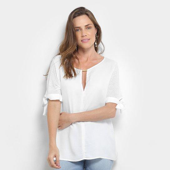 Blusa Colcci Linho Feminina - Branco - Compre Agora  95ccab9cb17