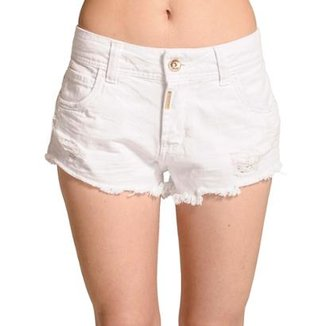 714920bd7 Short Sarja Destroyed Desfiado Color Block Colcci Feminino