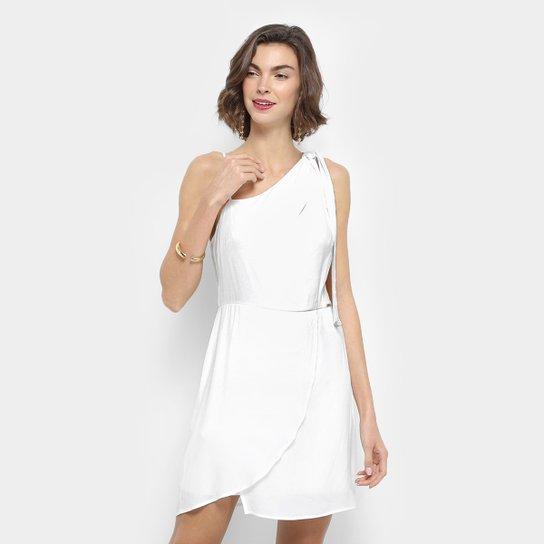 54dceee29 Vestido Colcci Tubinho Curto Transpassado Ombro Amarração - Branco ...