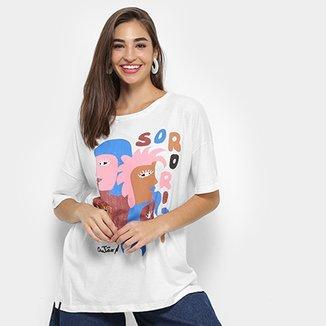 3794c03eaf4e7 Camiseta Cantão Oversized Estampada Feminina