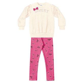 232c9df0b0 Conjunto Moletom Infantil Fakini Estampa Floral Detalhe Laço Feminino