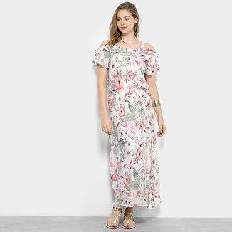 e3c9c85cd Vestido Longo Lily Fashion Evasê Floral