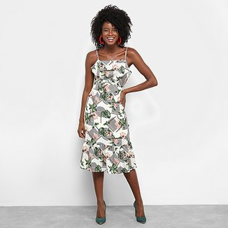 47091733232c4 Vestido Lily Fashion Midi Evasê Estampa Floral Detalhe Babado