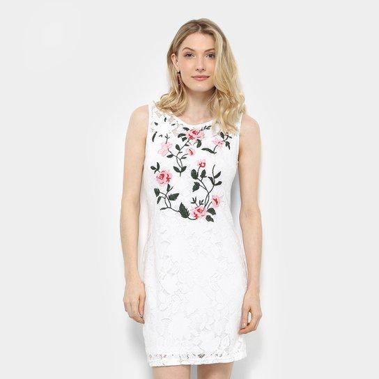 e4e937ed3 Vestido em Renda Holin Stone Bordado Floral Feminino - Off White