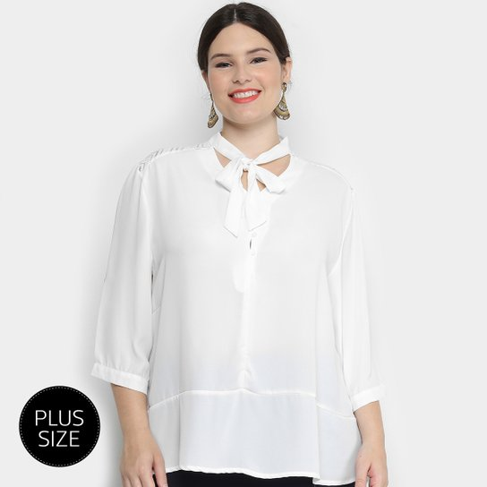 bcfa083db Blusa Holin Stone Bata Gola Laço Manga 3 4 Plus Size Feminina - Off White
