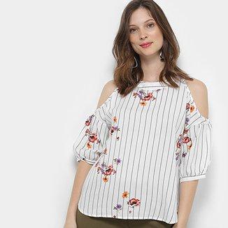 1236ece3d1 Blusa For Why Feminino Listrada Floral Recorte Ombros Feminina