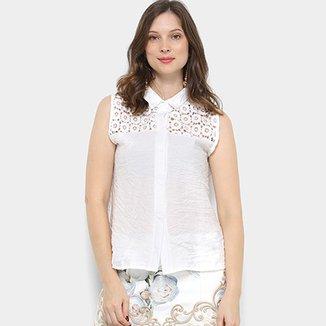 a635b481e8 Camisa For Why Cavada Guipir Tiras Costas Feminina