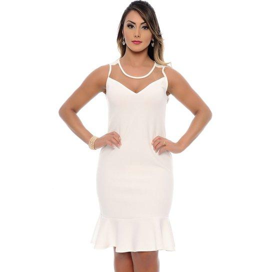 17a88a4c6 Vestido Midi Social Clarita B Bonnie - Off White - Compre Agora ...