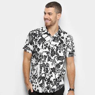 67ab994fe5 Camisa Manga Curta Redley Trama Floral Masculina