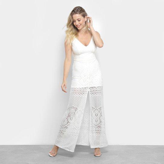 6add552406 Vestido Longo em Renda Handbook com Fenda Feminino - Off White