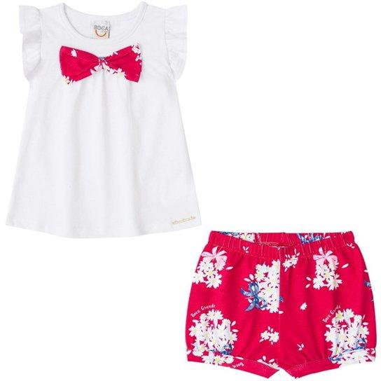1da48ddb72ec Conjunto Infantil Bebê Bata e Shorts Boca Grande Feminino - Branco e ...