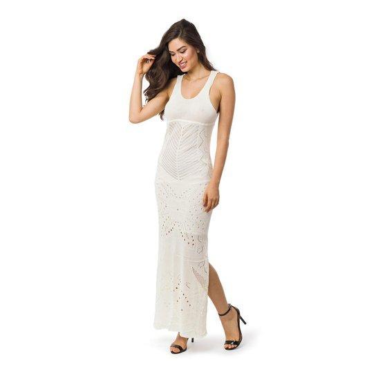 537d3cb33d Vestido Pink Tricot Longo Decote nas Costas e Fendas Laterais Feminino -  Off White