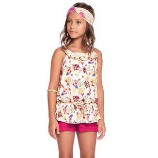 eb24469363 Conjunto Infantil Charpey Regata Florida + Shorts Frutili Feminino