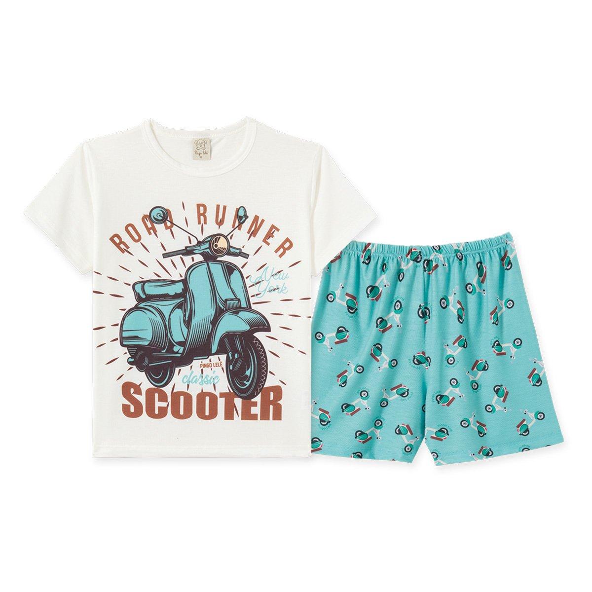 Pijama Infantil Pingo Lelê Camiseta Scooter + Bermuda Masculino