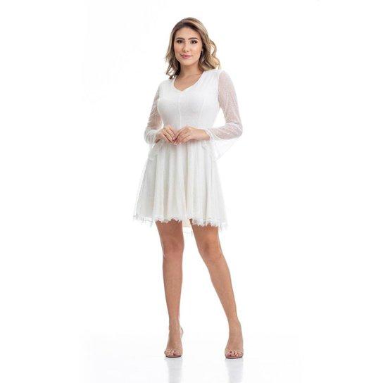1f2448ff03 Vestido Clara Arruda Renda Manga Longa Feminino - Off White - Compre ...