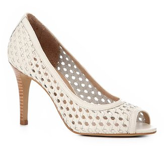 50664da8d Peep Toe Couro Shoestock Salto Fino Tressê