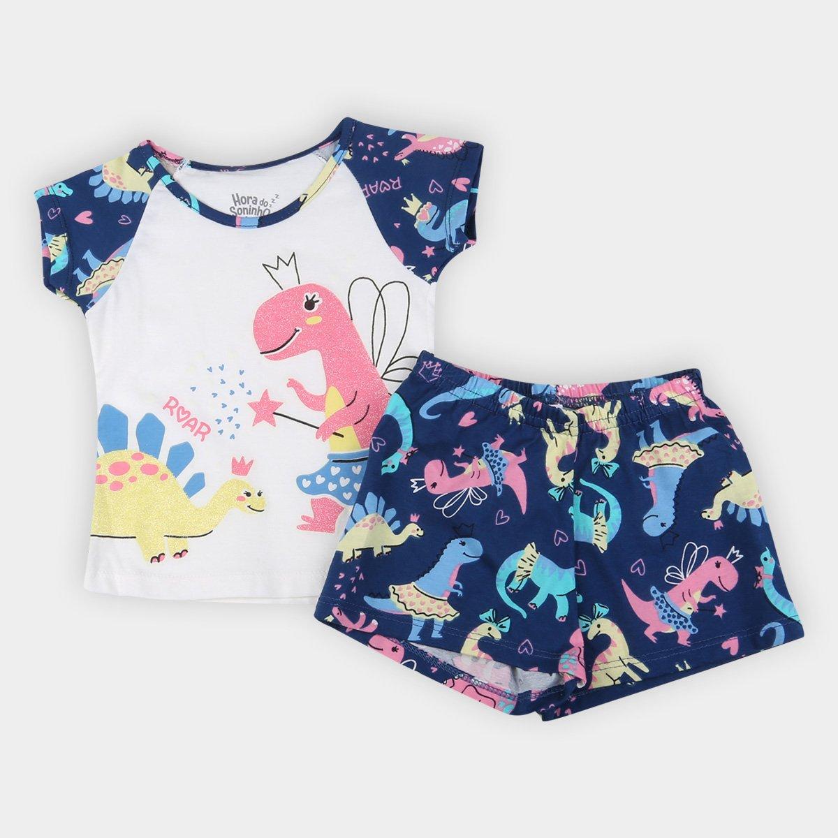 Pijama Curto Bebê Elian Dino Princesa Brilha no Escuro Feminino