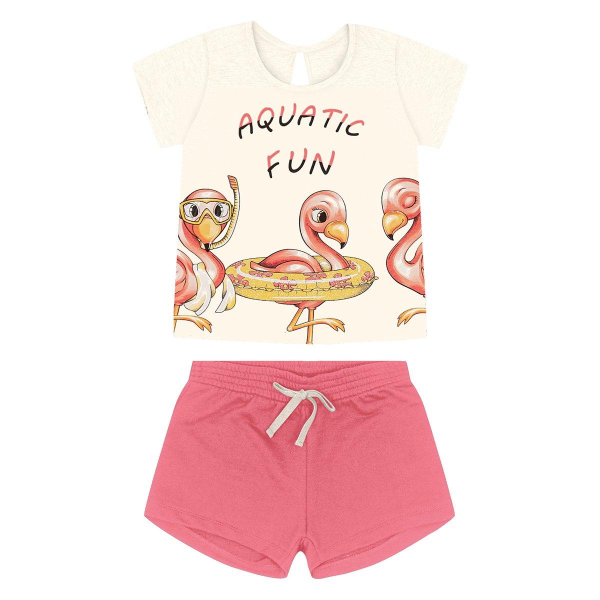 Conjunto Infantil Rovitex Camiseta Flamingos + Short Moletom Feminino