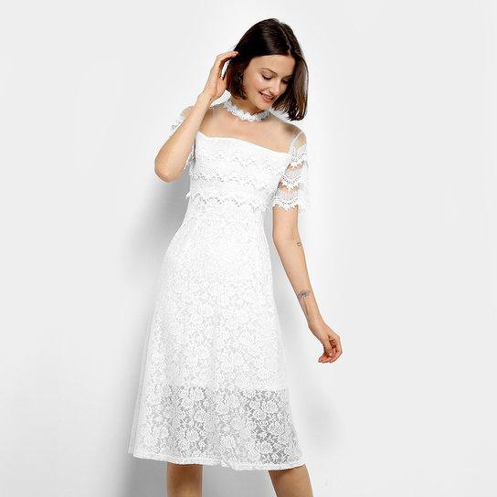 ab7e8f800 Vestido Too Orange Midi Evasê Tule Renda - Off White