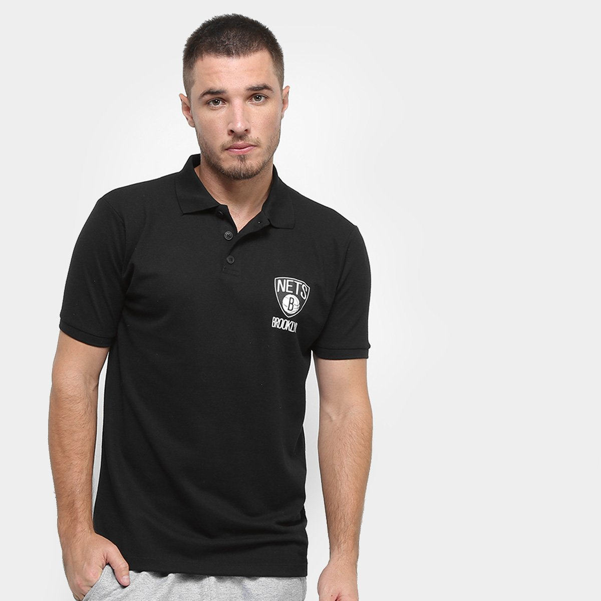 90772df023 Camisa Polo NBA Brooklyn Nets Mini Logo Masculina