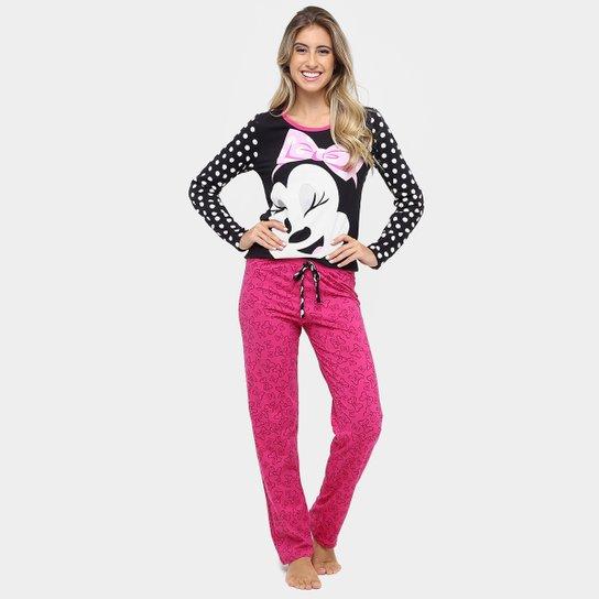 5686840447d066 Pijama Lupo Conjunto Longo Minnie Algodão - Preto