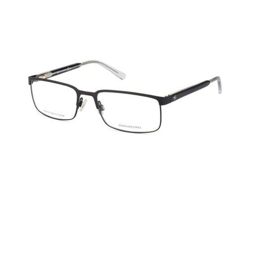 5b25f211b18bb Armação Óculos Tommy Hilfiger TH 1235 FSW - Preto - Compre Agora ...