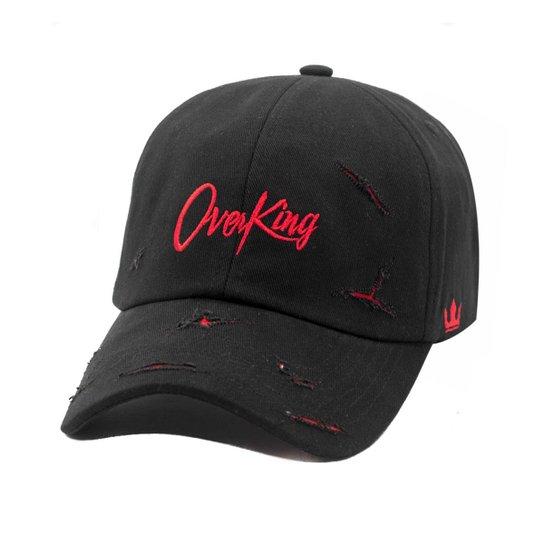 Boné Overking Aba Curva Dad Hat Strapback Destroyed Black - Preto ... 62c310a9d08