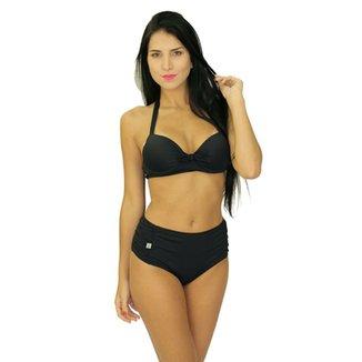 292ac3713 Biquíni Areia Mar Shortinho Cintura Alta Com Bojo Hot Pants