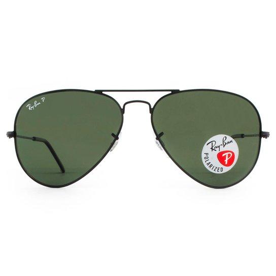 b2df32e4569fb Óculos de Sol Ray Ban Aviator Polarizado RB3025L 002 58-58 Masculino - Preto