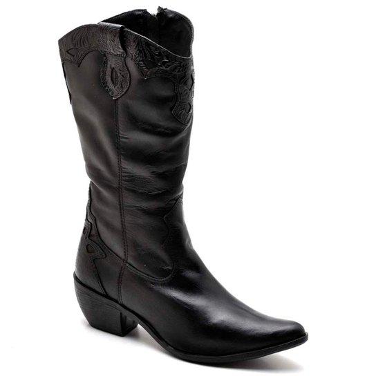 f7f9736fd Bota Top Franca Shoes Country Bico Fino Feminina - Preto | Zattini