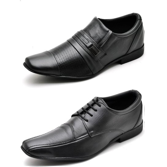 f21960817 Kit 2 Pares Sapato Social Top Franca Shoes Masculino - Preto ...