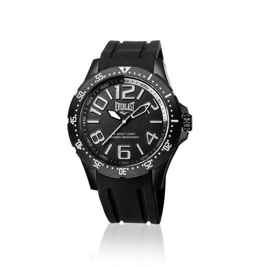 568e1c96d2b Relógio Everlast Masc Cx Aço Pulseira Silicone Analógico - Preto ...