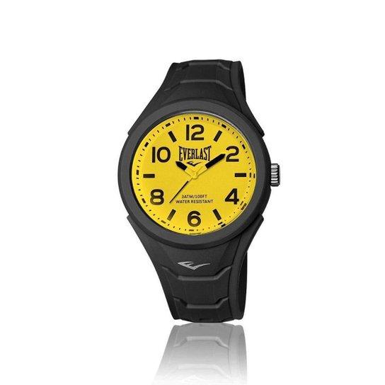 936fe9f78af Relógio Pulso Everlast Shape Caixa Abs Revestido Silicone - Preto ...