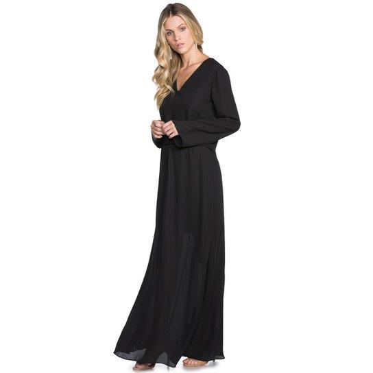 128d4057c Vestido Amaro Longo Crepe Manga Comprida - Compre Agora