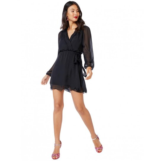 117c64914f Vestido Amaro Curto Manga Longa Seda Feminino - Compre Agora