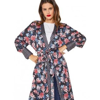 36a6b10c30 Kimono Amaro Estampado Detalhe No Punho Feminino