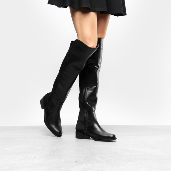 d6f0db363 Bota Over the Knee Via Uno Flat Feminina - Preto | Zattini