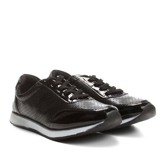 Tênis Jogging em Verniz Via Uno com Laser Cut Feminino - Compre ... 95582284e81cf