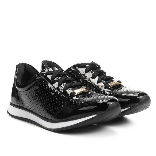 Tênis Jogging Via Uno Verniz Laser Cut Feminino - Preto - Compre ... 27dfb02a3610e