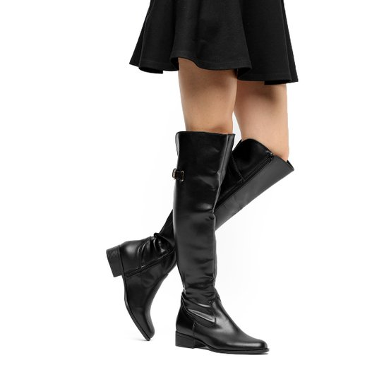 4b6b48702 Bota Over The Knee Via Uno Salto Baixo Feminina - Preto | Zattini