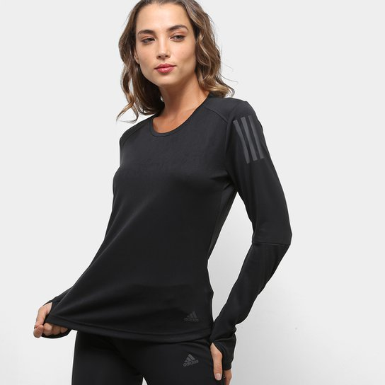 3333f289dd1 Camiseta Manga Longa Adidas Response Feminina - Preto - Compre Agora ...