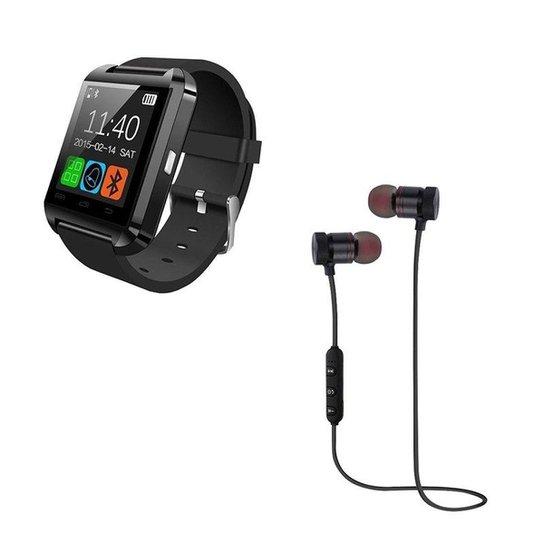 Kit Relógio Smartwatch U8 Inteligente Via Bluetooth e Fone XT-6 Bluetooth -  Preto 93041c52e0