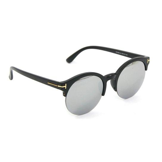 11f25a2c2fd65 Óculos Redondo Preto com Lente Espelhada - Preto - Compre Agora ...