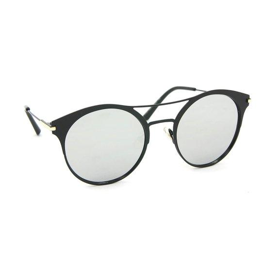 3168c55ce1fb5 Óculos de Sol Estilo Top Bar Redondo Espelhado - Preto - Compre ...
